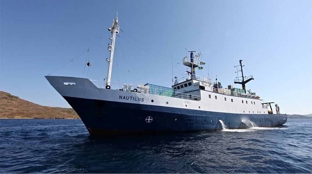 <div style='color:#000000;'><br /><br /><h2>E/V Nautilus- Owned and operated by Ocean Exploration Trust and Dr. Robert Ballard.</h2>Photo courtesy of Ocean Exploration Trust</div>