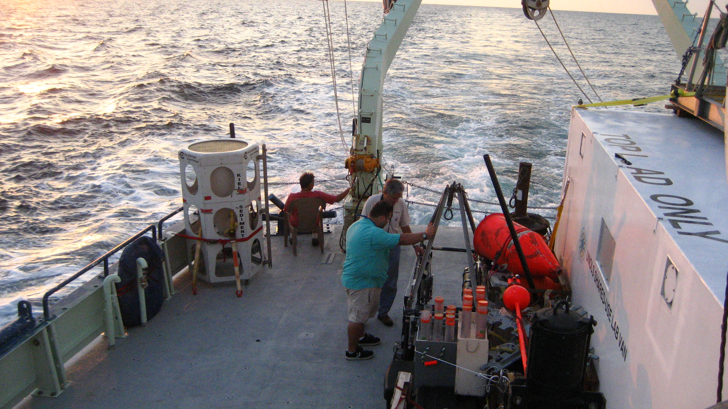 <div style='color:#000000;'><br /><br /><h2>Kiel sediment trap strapped to the back deck of the research vessel.</h2>(C)&nbsp;ECOGIG</div>